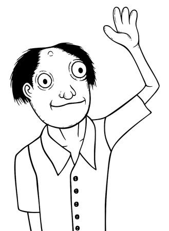 dumb: Individual man, cartoon vector illustration  Illustration