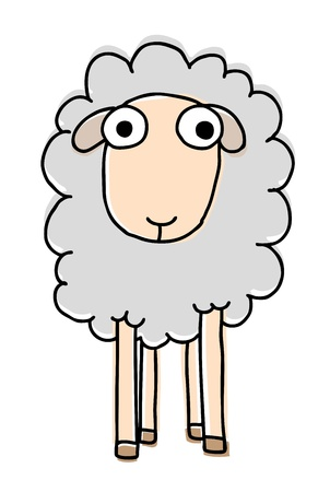 black and white farm: Funny sheep, cartoon vector illustration