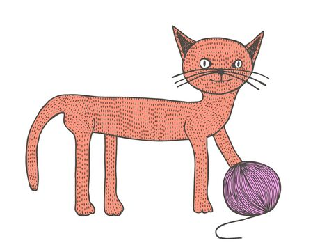 skein: Hand drawn cat with skein, retro illustration