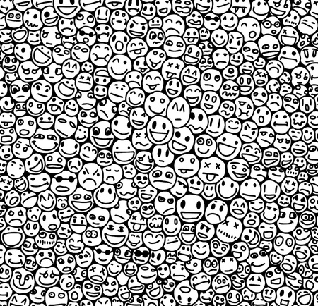 Hand drawn texture with too many smiles