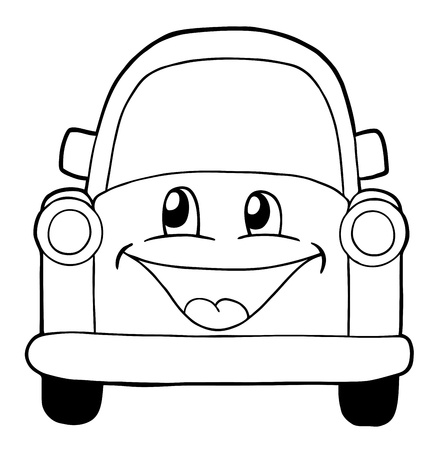 Cute car, coloring page illustration Vector