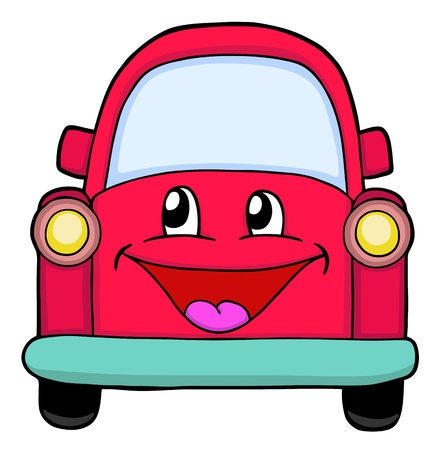 Cute red car, painted illustration Vector