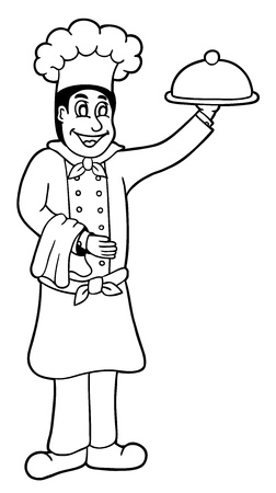cook book: Cute chef, coloring page illustration