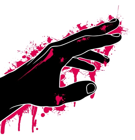 hardness: Hand in blood, abstraction, vector illustration