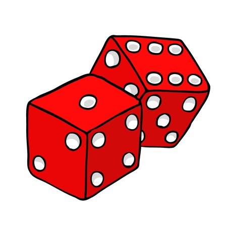 red dice: Painted playing dice, vector illustration Illustration