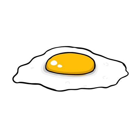 fried: Painted fried egg, vector illustration