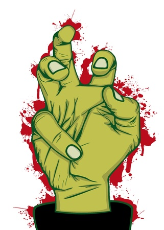 pain killers: Hand of zombie, vector illustration