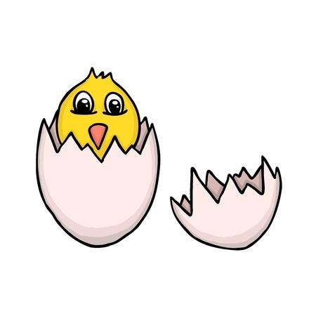 poult: Painted egg with poult, vector illustration Illustration