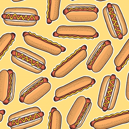 Seamless pattern of hot dogs, vector illustration Stock Vector - 17569872