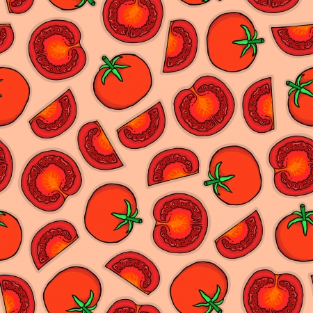 Seamless pattern of tomatoes, vector illustration Stock Vector - 17569845