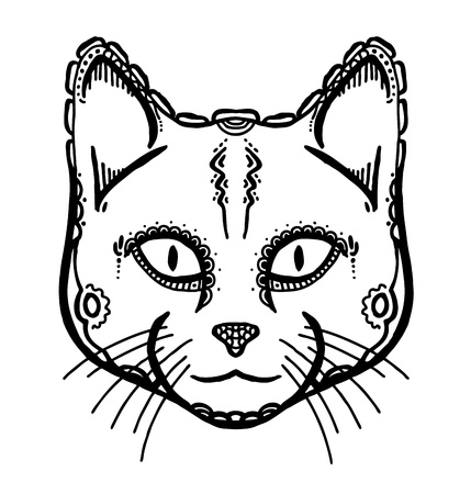 tribal mask: Hand drawn head of cat, vector illustration, ancient style