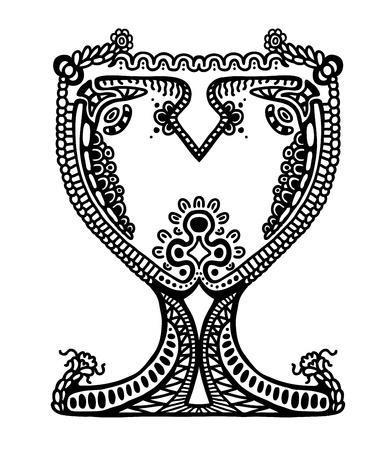 goblet: Painted goblet, illustration design element