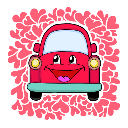 Cute red car  Vector