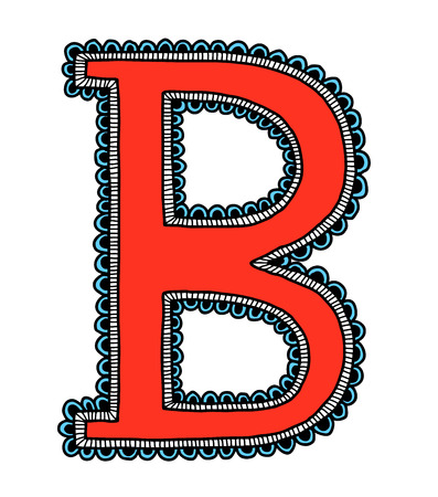 Hand drawn letter B, vector illustration Vector