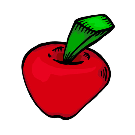 red apple: Painted red apple, vector illustration