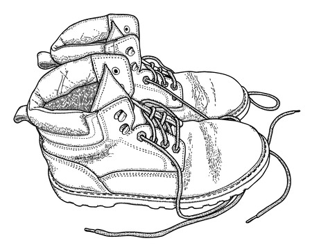 old shoes: Hand drawn fatigue boots, vector illustration