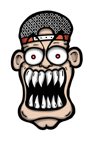 scary eyes: Scary or attacking face of man, vector illustration