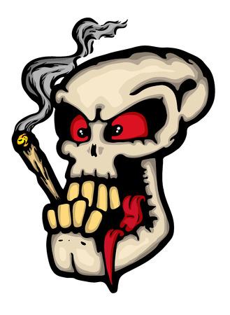 crazy: Skull wit joint, vector illustration