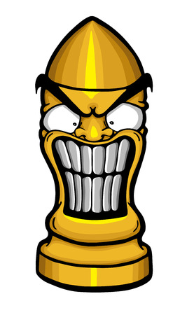Angry funny bullet, vector illustration Illustration
