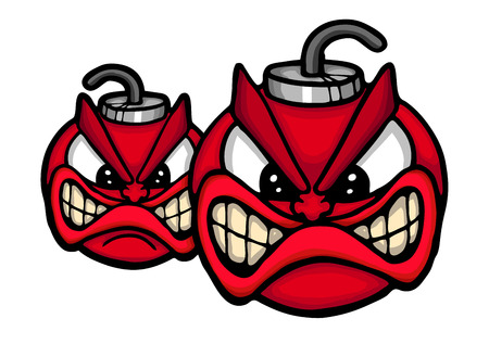 crazy hair: Two angry bombs, vector illustration Illustration