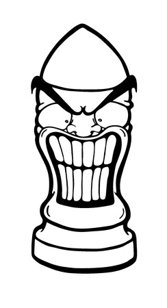 Angry funny bullet, vector illustration