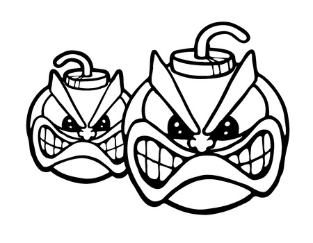 Two angry bombs, vector illustration Stock Vector - 26362219