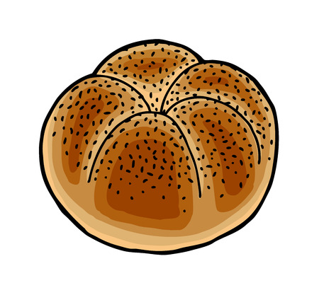 bread rolls: Hand painted roll, baking theme Illustration