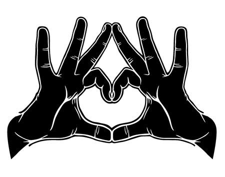 point i: Hands symbolic love, vector illustration