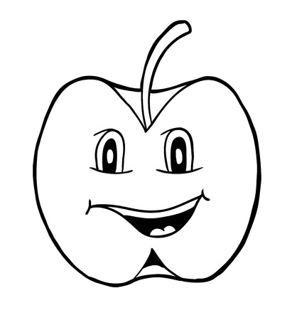 apple clipart: Apple with smile, vector illustration, coloring book