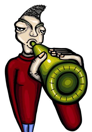 dipsomania: Drunken man, vector illustration, painted