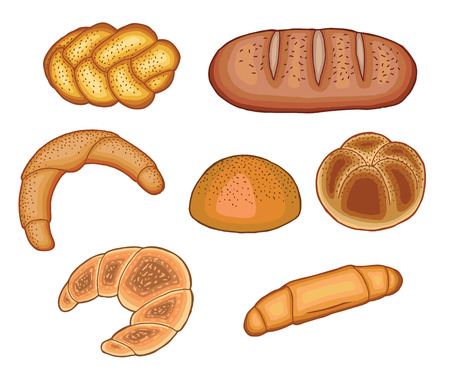 pointy: Set of baked breads, vector illustration