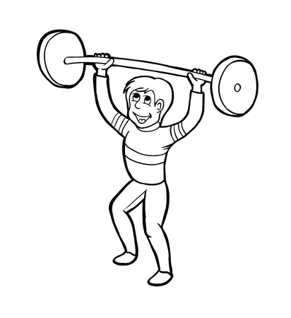 strenghten: Training man with smile, vector illustration, coloring book Illustration