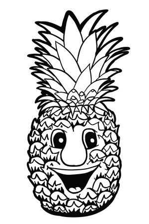 pinnacle: Pineapple with smile, vector illustration, coloring book