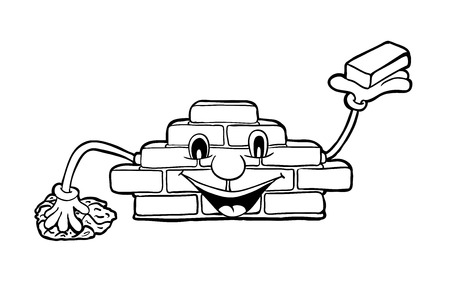 bricklayer: Bricklayer with smile, vector illustration, coloring book Illustration