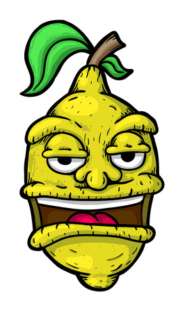 emotions faces: Citron with face, vector illustration, painted