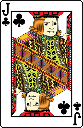 jack of clubs: Jack of clubs playing card, vector illustration