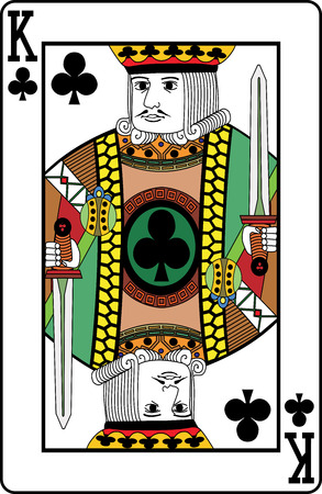 King of clubs playing card, vector illustration