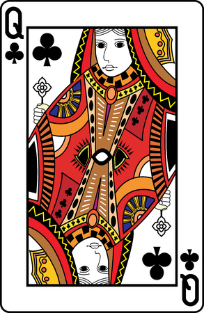 playing card: Queen of clubs playing card, vector illustration