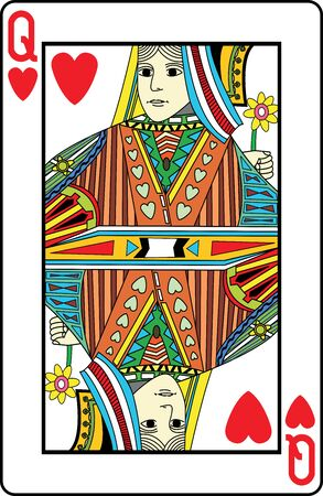 play card: Queen of hearts playing card, vector illustration Illustration