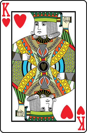 hearts: King of hearts playing card, vector illustration