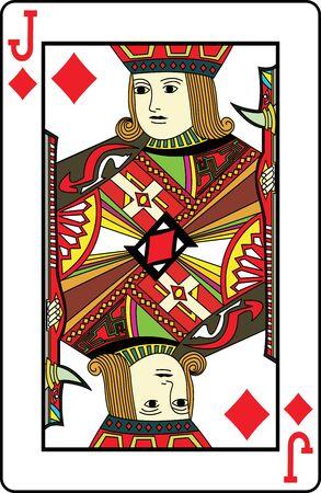 jack of diamonds: Jack of diamonds playing card, vector illustration