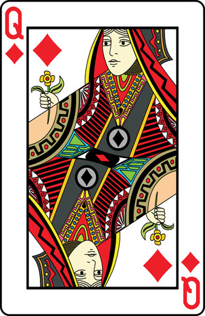 deck: Queen of diamonds playing card, vector illustration