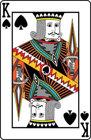 texas hold'em: King of spades playing card, vector illustration