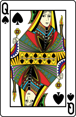 Queen of spades playing card, vector illustration