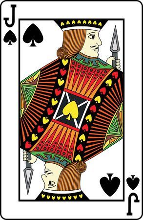 play card: Jack of spades playing card, vector illustration