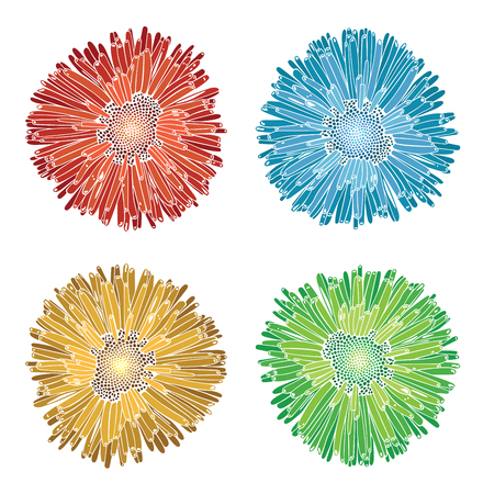 Colorful Flower silhouettes, vector illustration Illustration