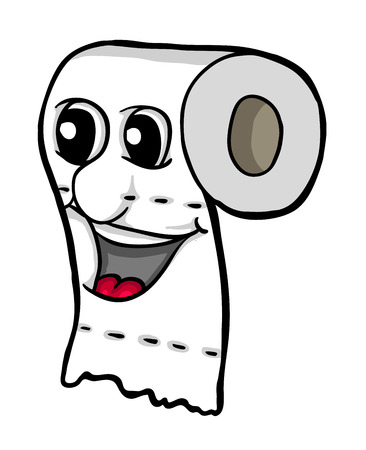 toilet paper art: Toilet paper with smile, vector illustration, coloring book