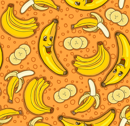 manic: Seamless pattern of bananas, vector illustration