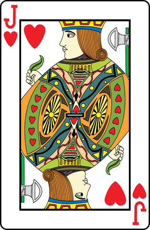 play card: Jack of hearts playing card, vector illustration