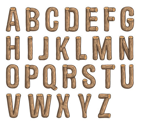 Painted wood vector abc, font, 3D, alphabet Ilustrace